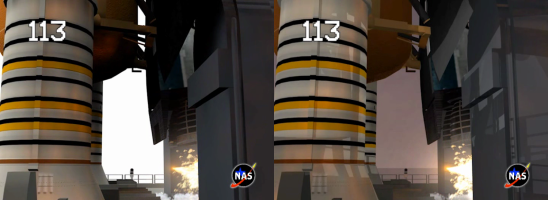 A day launch, SM-2, with a screen overlay, versus a sunset or night launch, SM-3, with an add overlay.