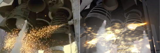 The igniters in action, compared to real footage on the left. Six are used--three on the left and three on the right with two of them in the front and four in the back. I opted to only use four. Images cropped from STS-124 and SM-3.