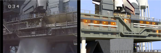 Waterfall compositions placed and masked beneath the launch platform's SRB and SSME holes, compared to real footage on the left. Images cropped from STS-122 and SM-4.