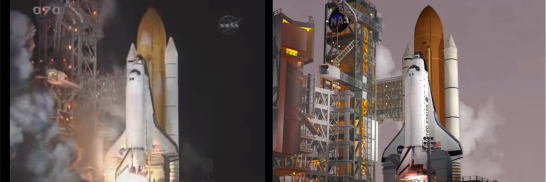Smoke overlays were used to create a mist, compared to real footage on the left. Images cropped from STS-130 and SM-3.