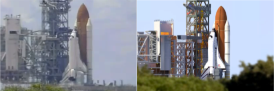 Flowing ripples and a gaussian blur were used to create a heat haze, compared to real footage on the left. Images cropped from STS-121 and SM-4.