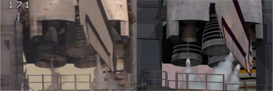 Overlays of steam are placed behind a mask of the handrails, compared to real footage on the left. Images cropped from STS-102 and SM-3.
