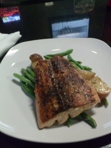 The Norwegian: $17. Garlic roasted green beans, red potatoes and salmon.