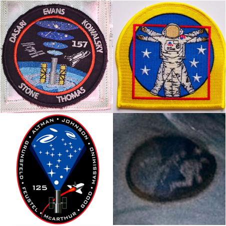 """The STS-125 and -157 patches (left). The NASA EVA patch (top right) is based on da Vinci's """"Vitruvian Man,"""" versus the one used in the movie, which is based on evolution."""