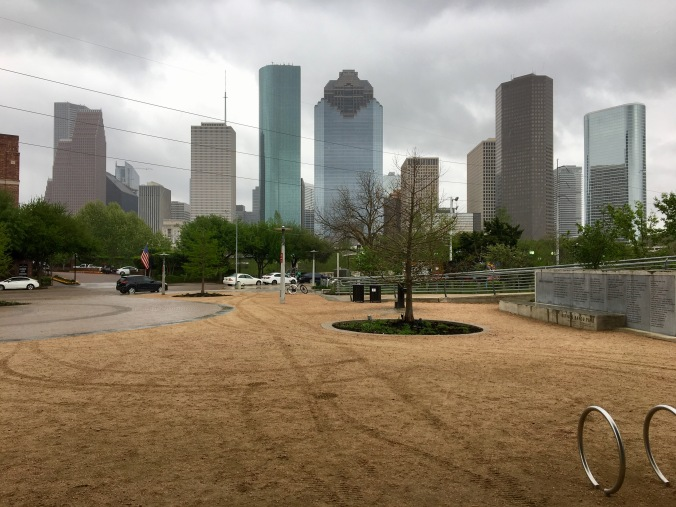 This is the vantage point from the public space at Jamail Skatepark, one of the largest skate parks in Texas. This whole area is free to the public, with a visitors center also offering bike rentals.