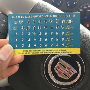 My well-worn punch card for Buzzles Shaved Ice.